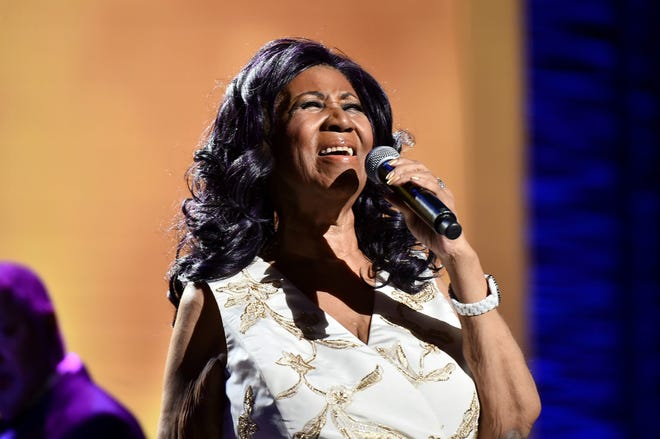 "Aretha Franklin during the ""Clive Davis: The Soundtrack of Our Lives"" concert at Tribeca Film Festival on April 19, 2017, in New York."