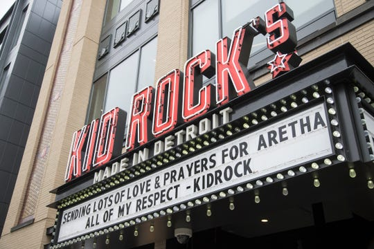 A tribute to Aretha Franklin on the marquee at Kid Rock's Made in Detroit restaurant in downtown Detroit on Thursday, August 16, 2018.