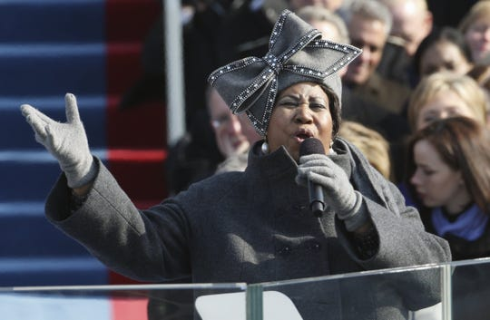 Aretha Franklin performs at the swearing-in ceremony at the U.S. Capitol in Washington, Tuesday, Jan. 20, 2009.