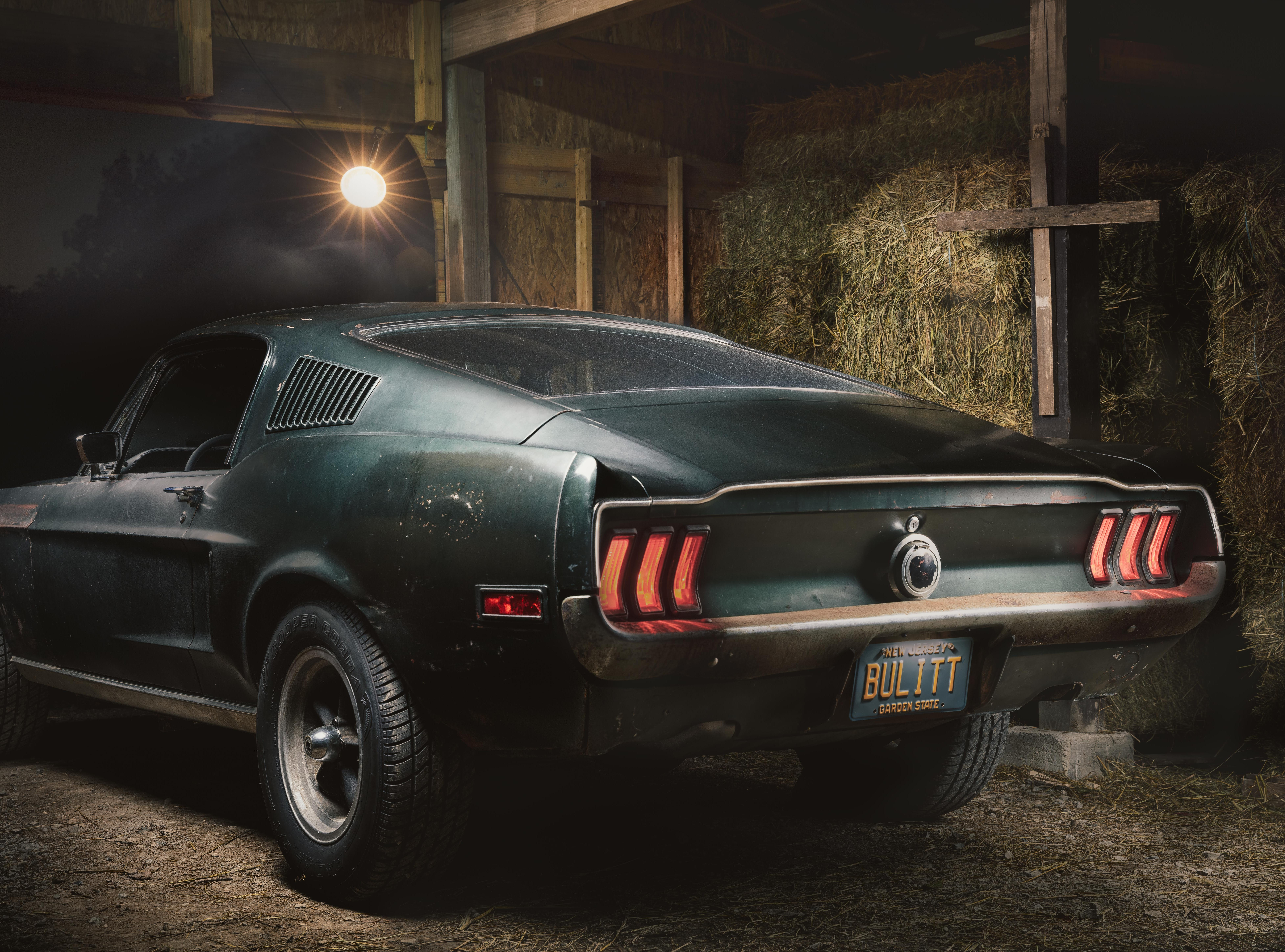 "Promotional photo of one of the original 1968 Ford Mustang GT fastback vehicles from the movie ""Bullitt."""