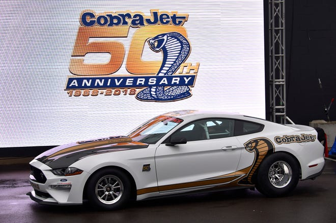 Ford Performance unveils their 50th Anniversary edition of the legendary Mustang Cobra Jet outside their Woodward Dream Cruise Clubhouse.