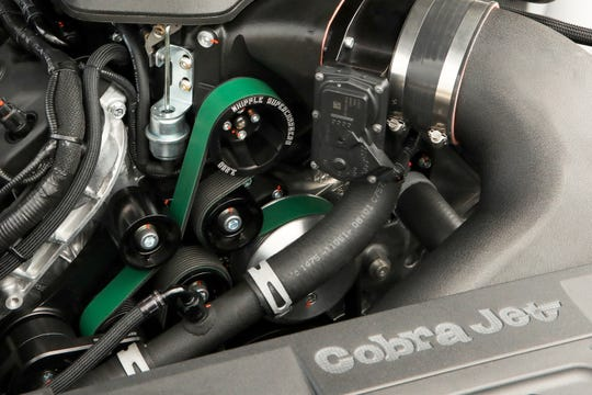 Under the hood of the Cobra Jet is a 5.2-liter variation of its Coyote V-8. It puts out 565 horsepower.
