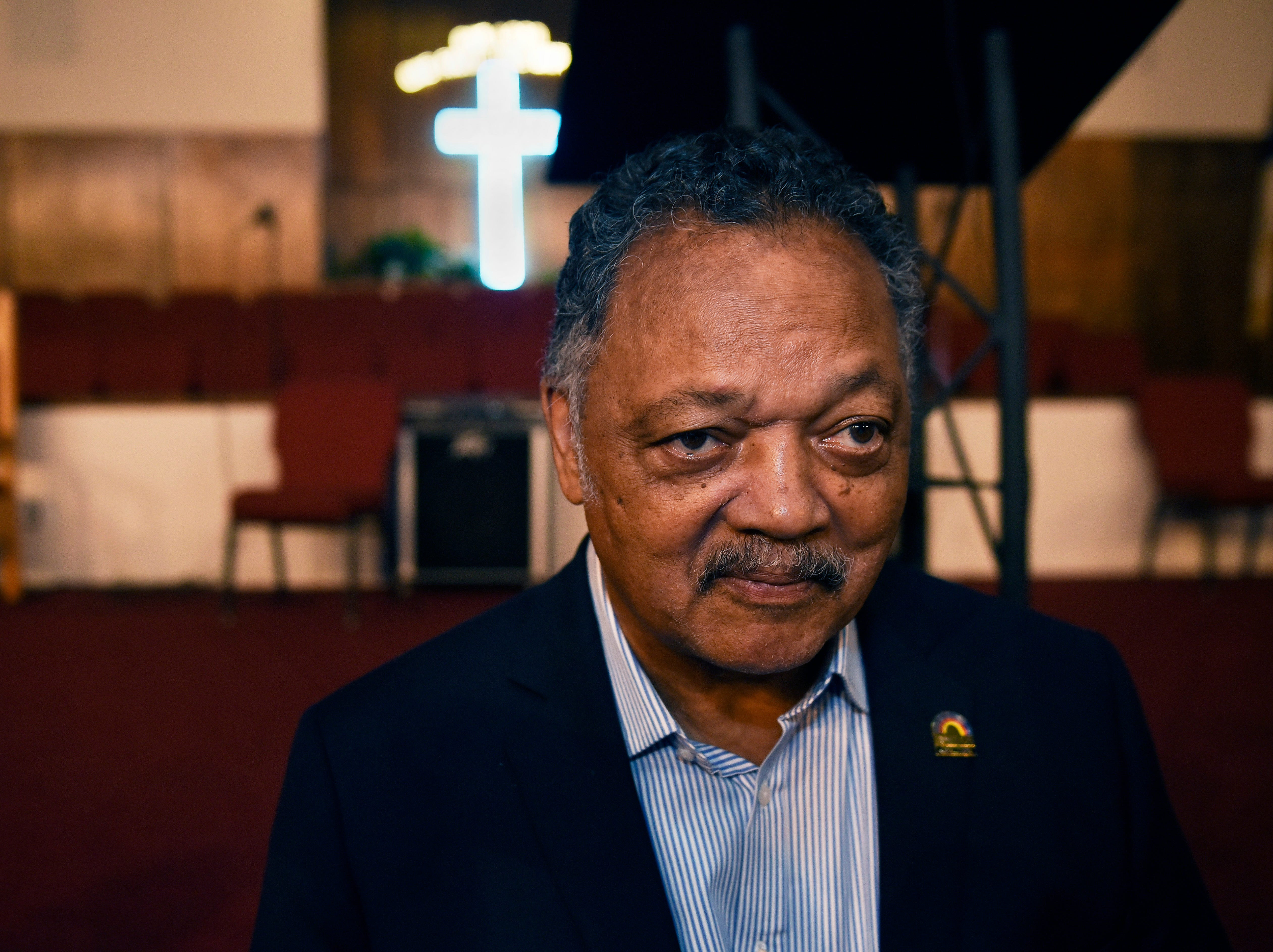 The Rev. Jesse Jackson talks to reporters about the life of Aretha Franklin in New Bethel Baptist Church in Detroit, Thursday, Aug. 16, 2018.