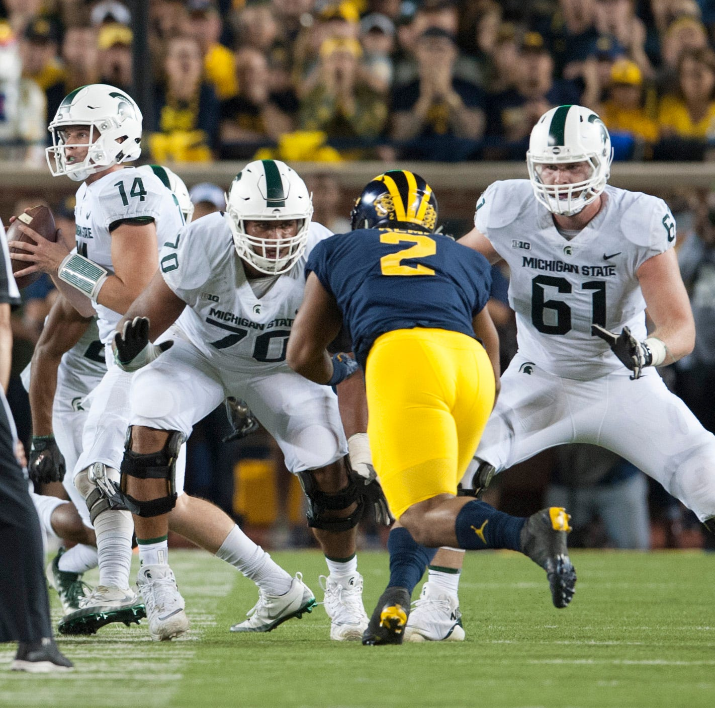 Michigan State lineman Tyler Higby (70) is moving from guard to center this season.