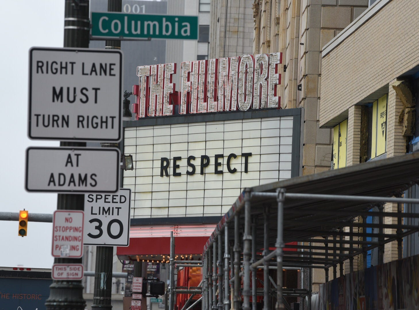 At the Fillmore theater the word R-E-S-P-E-C-T, a tribute to one of Aretha Franklin's biggest hit songs, is displayed as a memorial to the singer's death Thursday in Detroit.