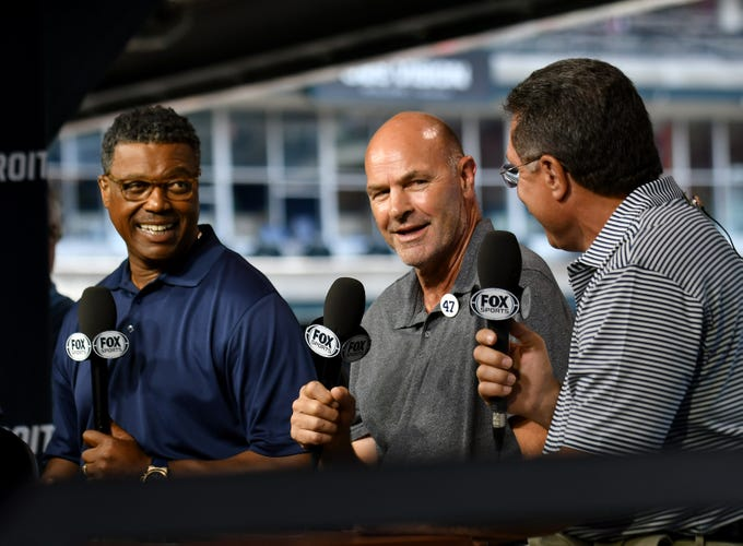 Former Tiger and Fox Sports Detroit analyst Kirk Gibson, center, talks with Rod Allen, left, and former catcher Lance Parrish during a pregame segment on Aug. 12, 2018. Since he was diagnosed with Parkinson's disease in 2015, Gibson has been raising awareness about it and donations for research through his foundation, KirkGibsonFoundation.org.
