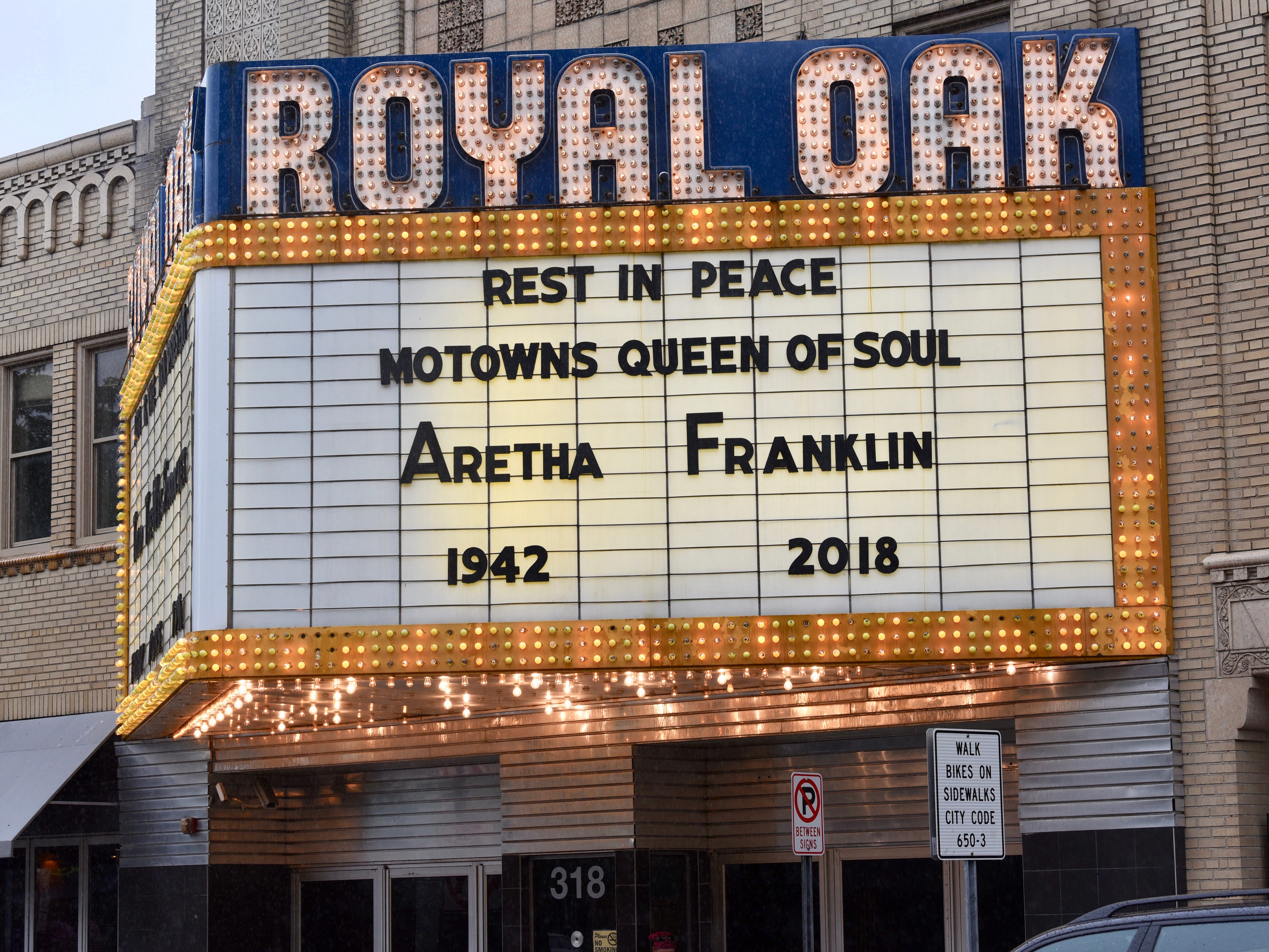 The marquee at the Royal Oak Music Theatre celebrates the life of the Queen of Soul, Aretha Franklin.