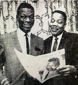 "Evansville native Belford Hendricks (right) stands with Nat ""King"" Cole circa 1963. The composer and arranger worked on one of Aretha Franklin's early albums."