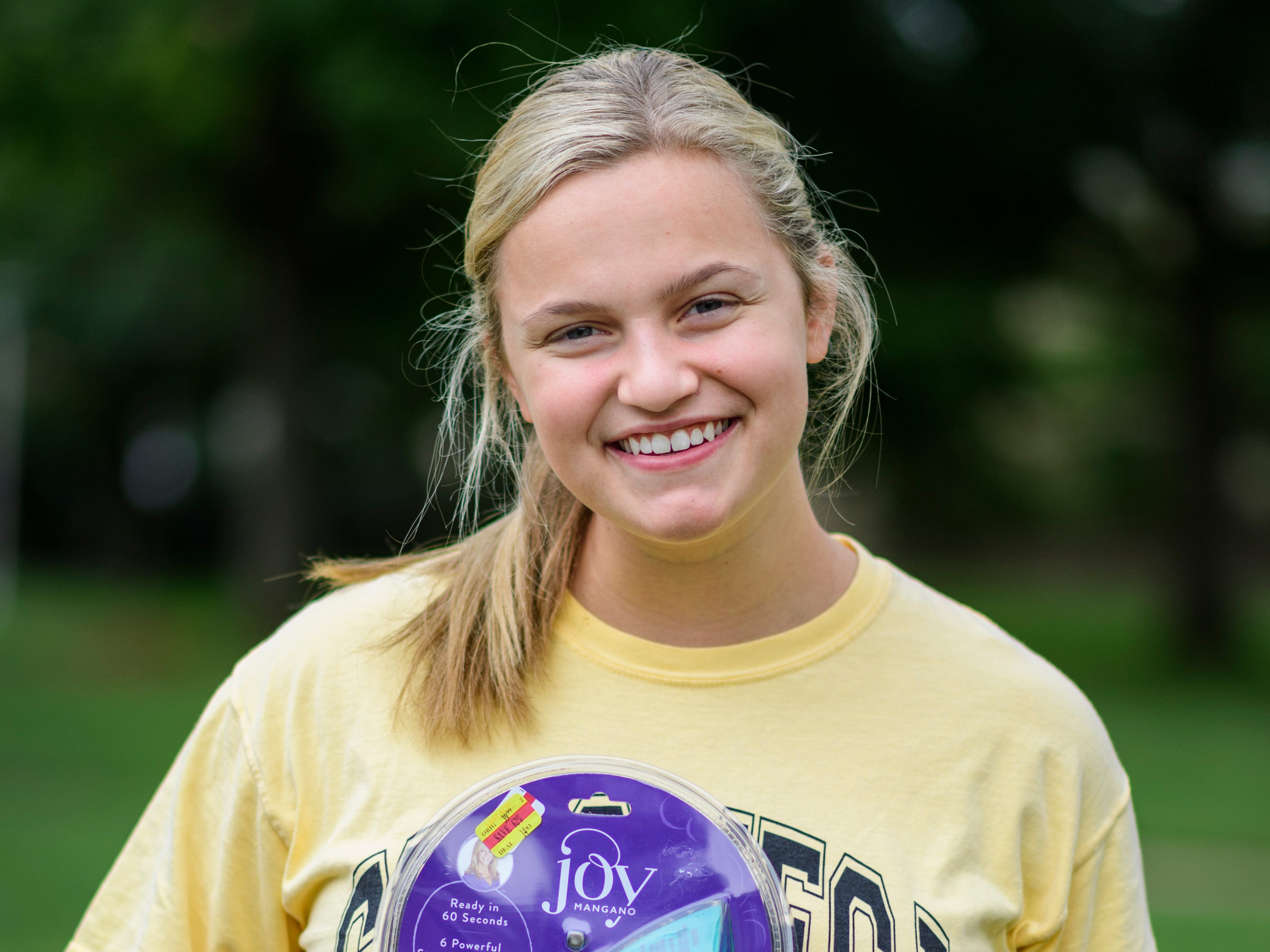 Maddie Roche is a University of Evansville junior majoring in history education. She brought a mini clothing steamer with her instead of an iron.