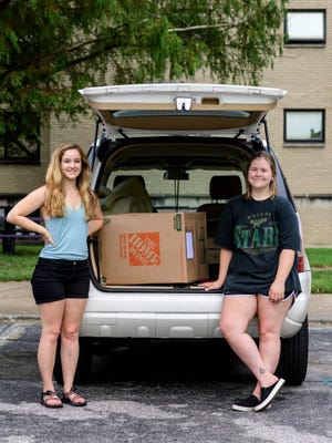 MJ Malinowski of Idaho, left, is a University of Evansville sophomore majoring in theater performance. Lauren Ward of Fort Worth, Texas, right, is a UE sophomore majoring in stage management. The roommates both talked about the importance of bringing an essential oil diffuser with them.