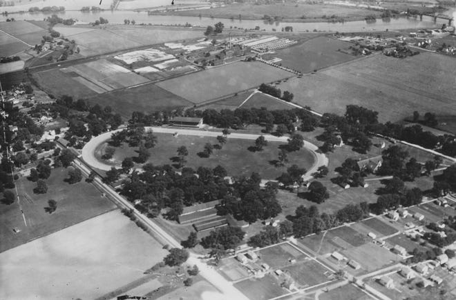 An aerial view of the trotting track in Sandusky County in 1912.