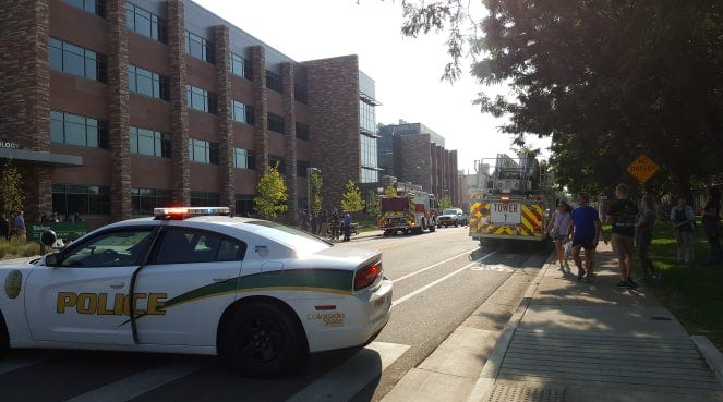 Hazmat crews investigate after 1 injured when chemical container shatters at CSU Biology building