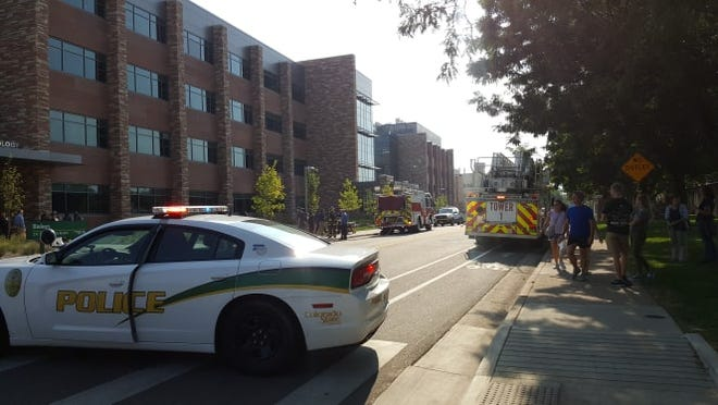 CSU police and Poudre Fire Authority investigate a hazmat situation at the Biology building at CSU.