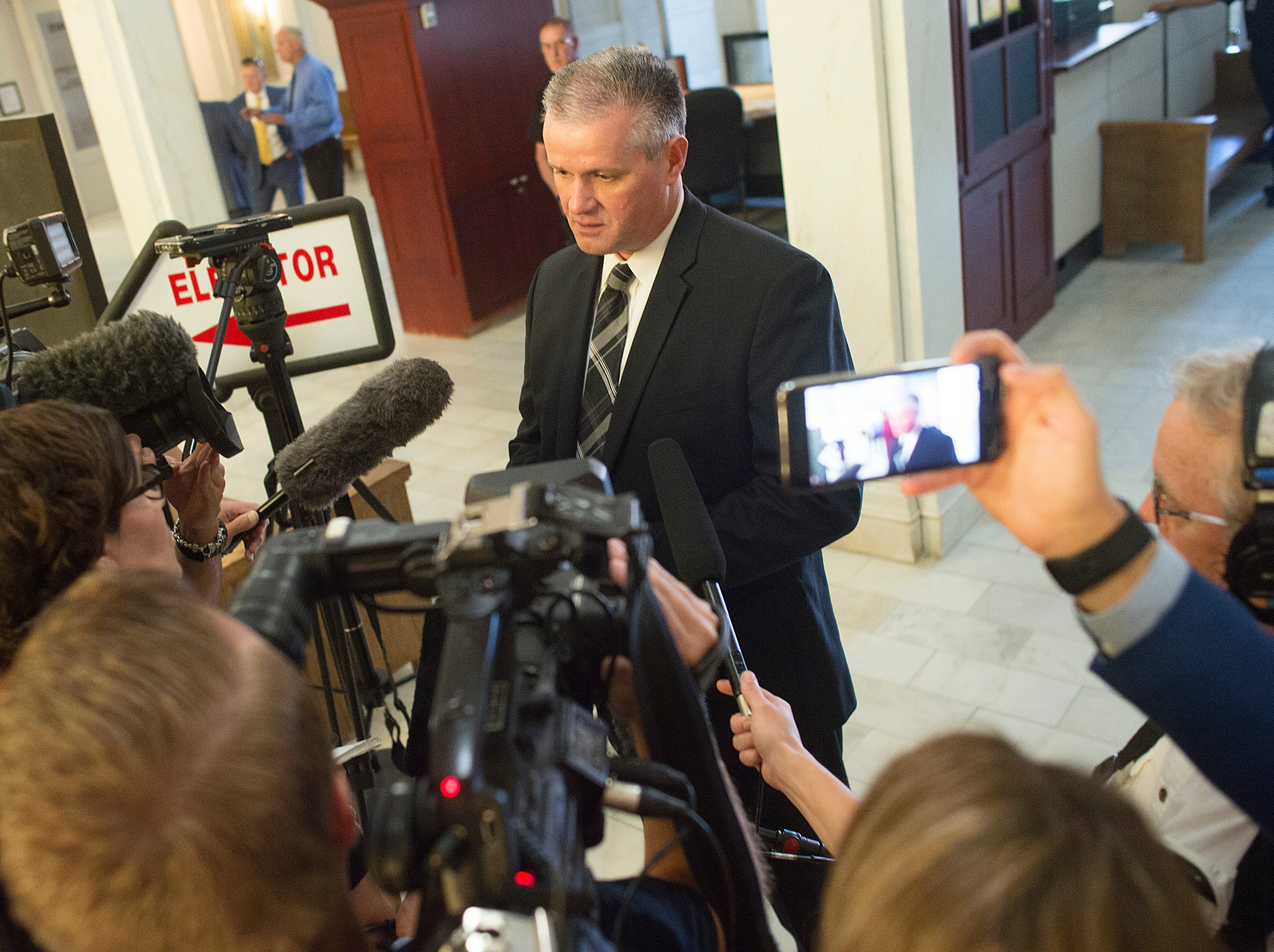 Weld County District Attorney Michael Rourke speaks with reporters after Christopher Watts made his first appearance at the Weld County Courthouse on Thursday, August 16, 2018. Watts was arrested in connection with the death of his pregnant wife, Shanann, and their two children, Bella and Celeste.