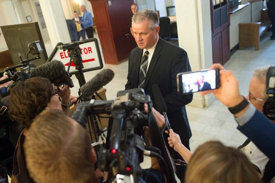 Weld County District Attorney Michael Rourke speaks with reporters in this 2018 file photo. Rourke is the suspect of an alleged murder plot by Weld County jail inmate Billie Allen. A six-day-trial held in Greeley ended Monday in a mistrial.