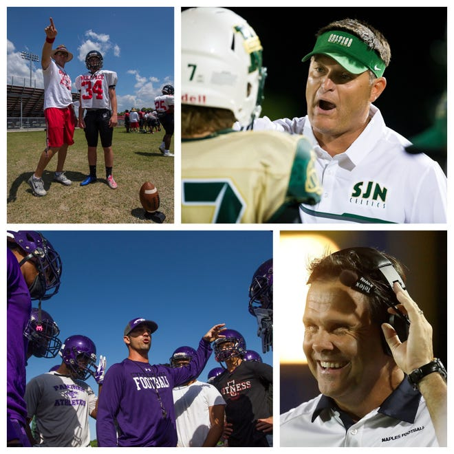 Area coaches shared their view on moving football from a fall to a winter sport, including (Clockwise from top left) South Fort Myers coach Brian Conn, St. John Neumann coach Damon Jones, Naples High coach Bill Kramer and Cypress Lake coach Richie Rode.