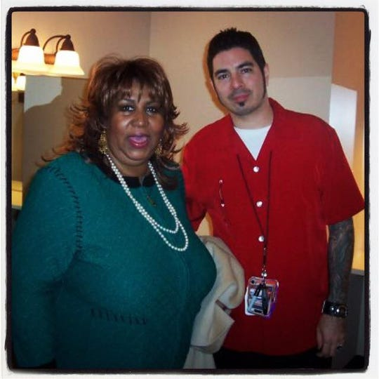 Aretha Franklin and Phil Doran, the former entertainment manager at Oneida Casino, snapped a photo together when she played the venue in 2006.