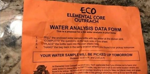 Fliers from Elemental Core Outreach recently left on doorsteps of Green Bay homes.