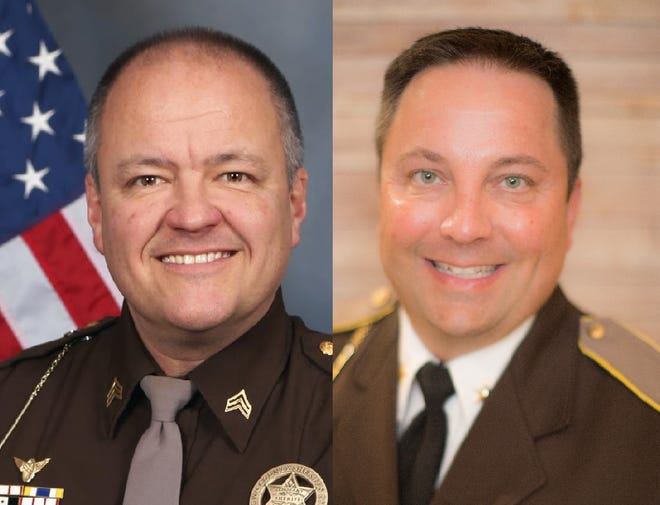 Brown County sheriff candidates Tim Thomas, left, and Todd Delain