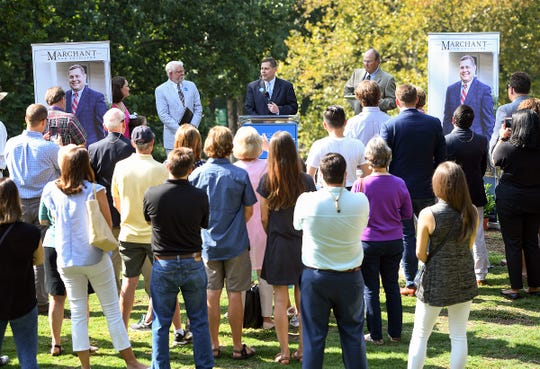 Attorney Lucas C. Marchant announces his candidacy and place on the ballot in November's general election as a Petition Candidate for 13th Circuit Solicitor, the chief prosecutor for Greenville and Pickens counties during a press conference in Falls Park Thursday, August 16, 2018.