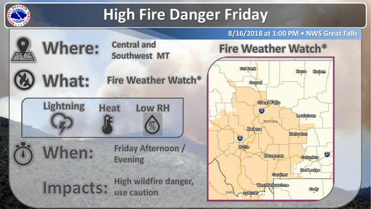 FIre danger is high in central and southwest Montana.
