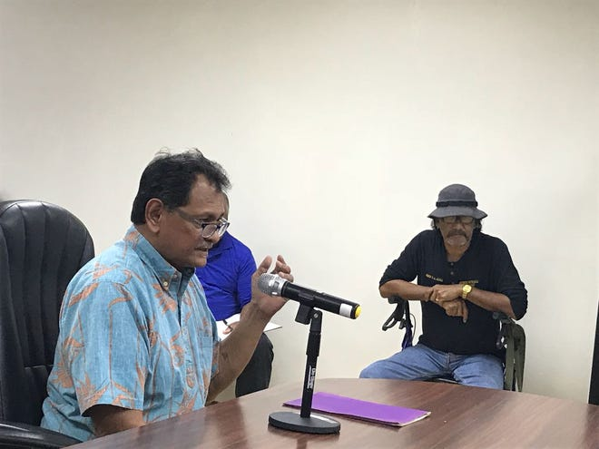 Robert Celestial of Dededo spoke at the Chamorro Land Trust Commission board meeting, with concerns about switching places in line for leases, on Aug. 16, 2018.