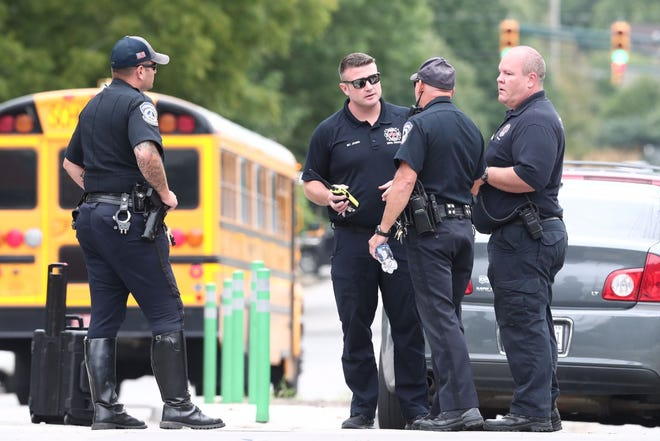 Indianapolis police responded to a call at Tech High School following a report of hundreds involved in a series of brawls at the school on Thursday, Aug. 16, 2018.