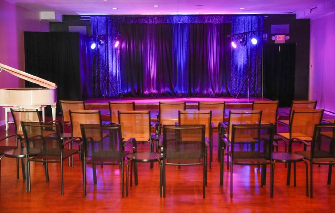 A stage and multi-purpose event space sit ready for cabaret and other performances at Stage To Screen Studios, 350 S. Madison Ave., in Greenwood on Tuesday, Aug. 14, 2018. Stage To Screen Studios focuses on educational development, professional training, performance opportunities, and honing artistic skills.