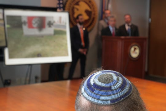 Rabbi Benjamin Sendrow's yarmulke, at a press conference to announce an arrest in the Carmel synagogue case, Indianapolis, Thursday, Aug. 16, 2018. The event in which locations at Congregation Shaarey Tefilla were sprayed with Nazi flags, occurred during the early morning on July 28th. Nolan Brewer, 20, Cloverdale was arrested after an investigation by Carmel Police, State Police, and the FBI.