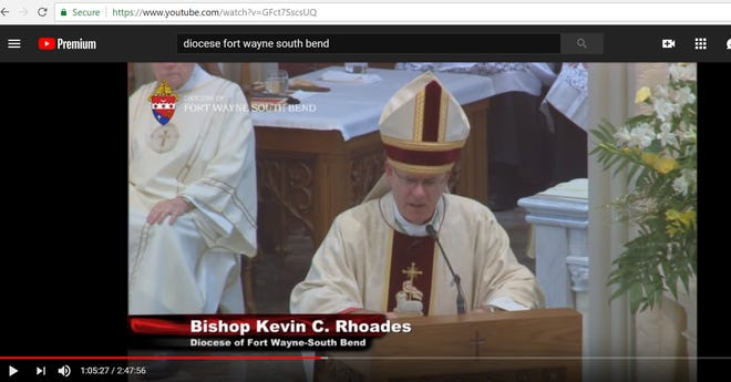 Bishop Kevin Rhoades speaks in June 2018 during Priestly Ordination. This screen-grab was taken from a live-stream of the event, via the Diocese of Fort Wayne-South Bend's YouTube channel.