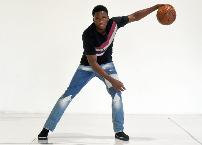 Victor Oladipo poses for portraits at Skill Lab in Miami, of which he is part owner.