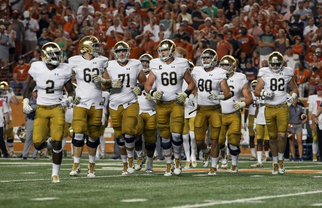 Last year's powerful Irish offensive line: running back Dexter Williams (2); linemen Colin McGovern (62), Alex Bars (71) and Mike McGlinchey (68); tight ends Durham Smythe (80) and Nic Weishar (82).