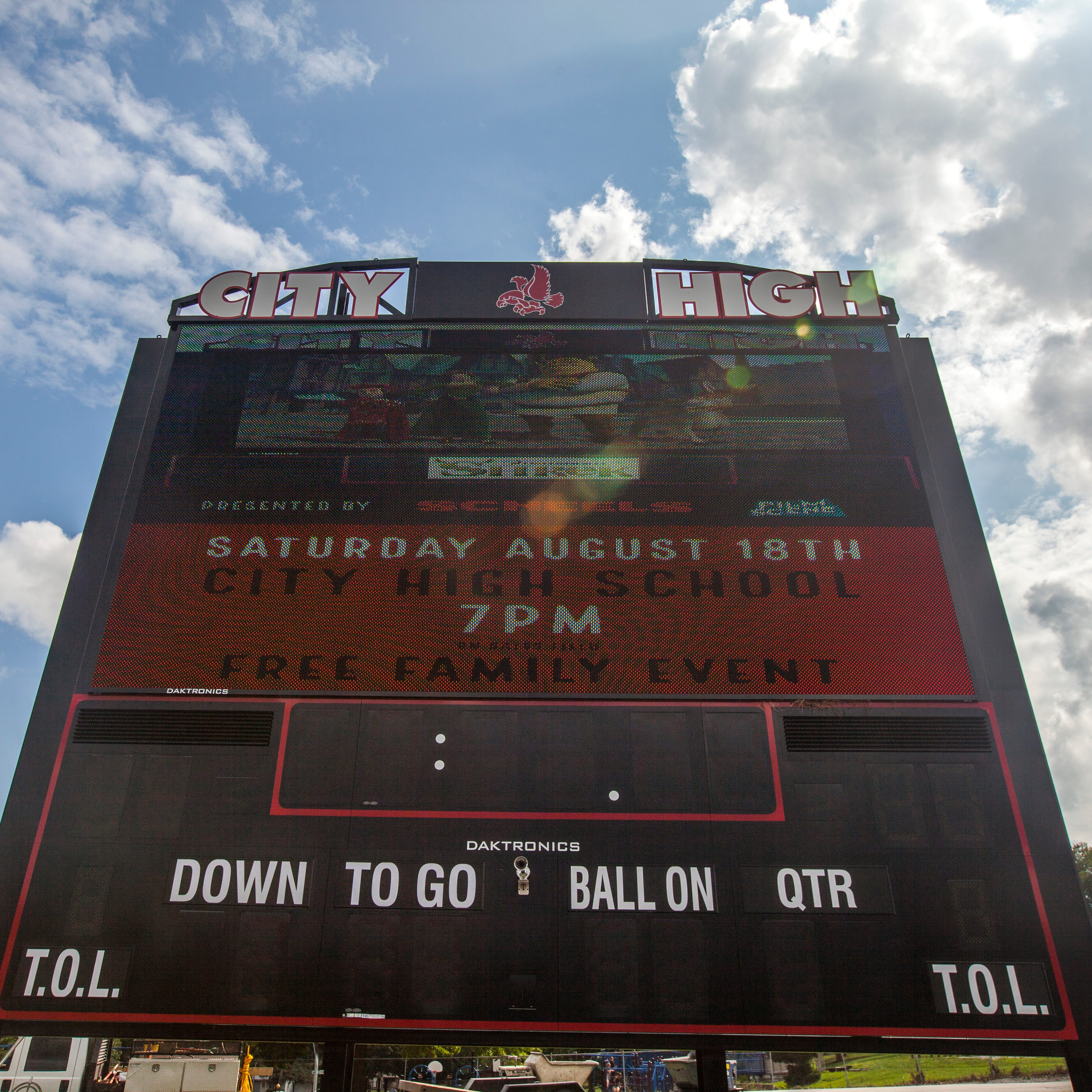 City High unveils new scoreboard with 'Shrek' showing