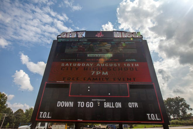 A new scoreboard is seen on Thursday, Aug. 16, 2018, at City High's Frank Bates Field in Iowa City.