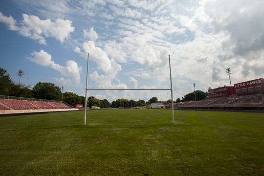 A recently mowed field is seen on Thursday, Aug. 16, 2018, at City High's Frank Bates Field in Iowa City.