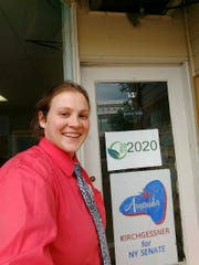 Amanda Kirchgessner outside her Corning capaign office.