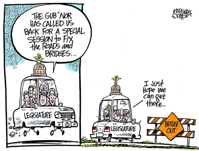 The Governor calls a infrastructure special session.