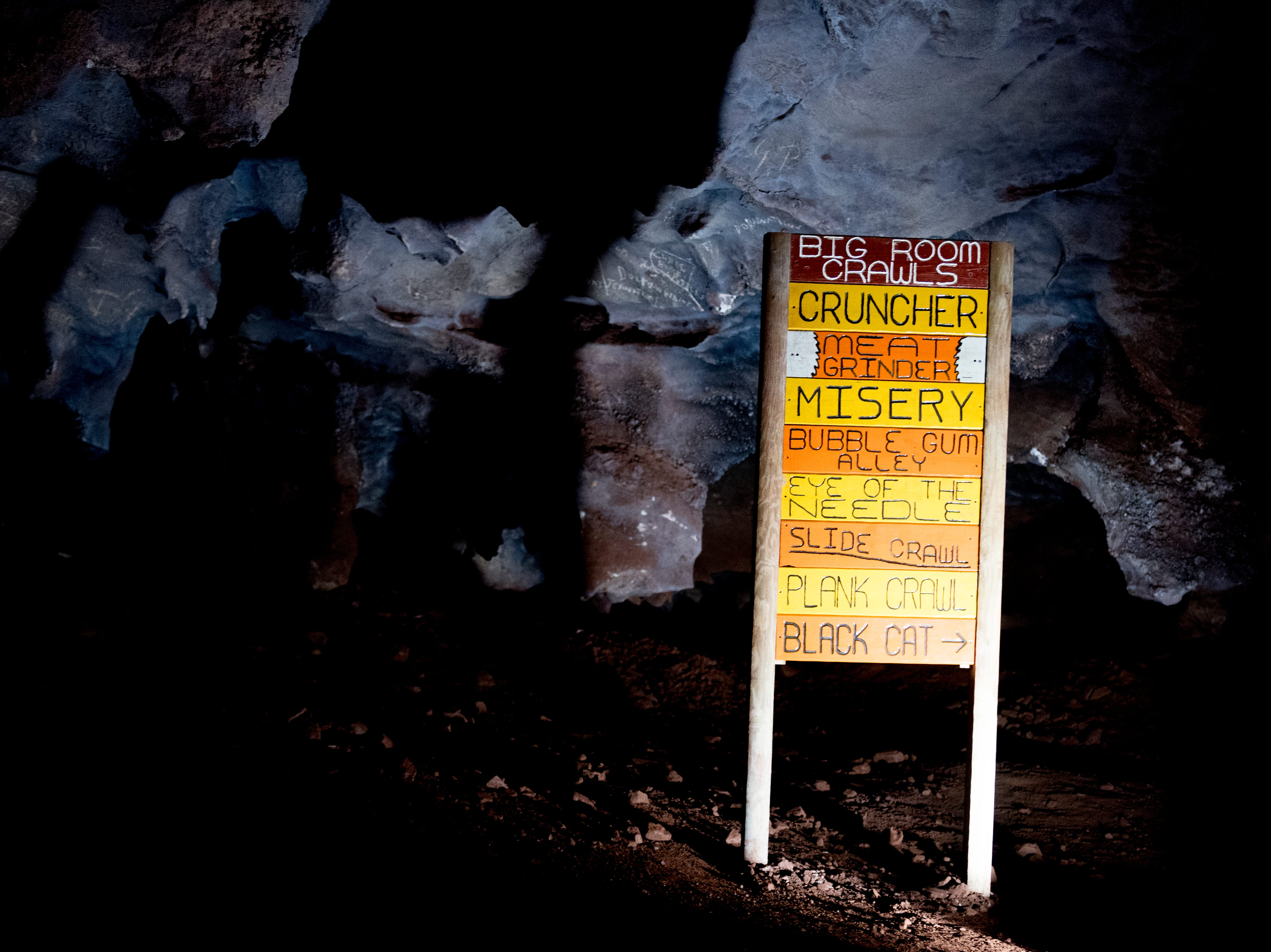 A sign at the Lost Sea Adventure underground cave attraction outside of Sweetwater, Tennessee on Wednesday, August 15, 2018. The cave system dates back some 20,000 years and today features points of interests like an old moonshine still, rock formations, Confederate Army graffiti and the popular boat ride in a natural lake stocked with 200 rainbow trout.
