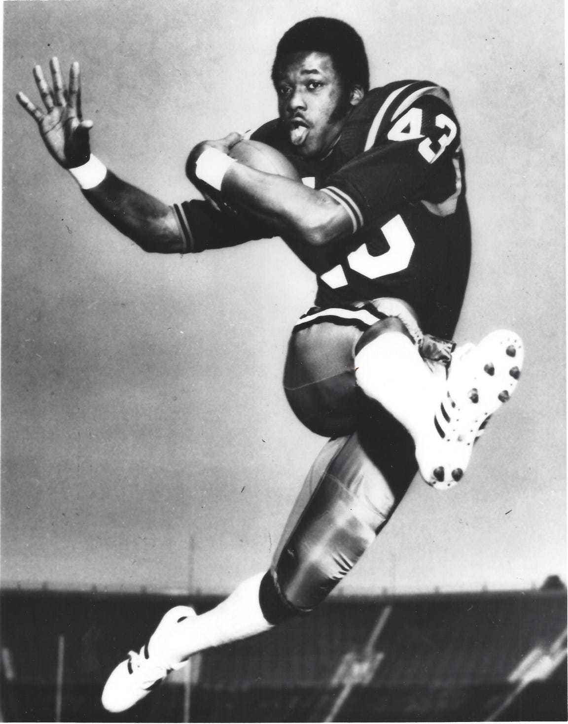 Darryl Stingley's speed made him a weapon as a running back and a wide receiver for Purdue from 1970-72.