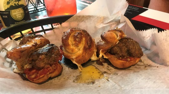 Professor Joe's sliders with a dab of pizza sauce.