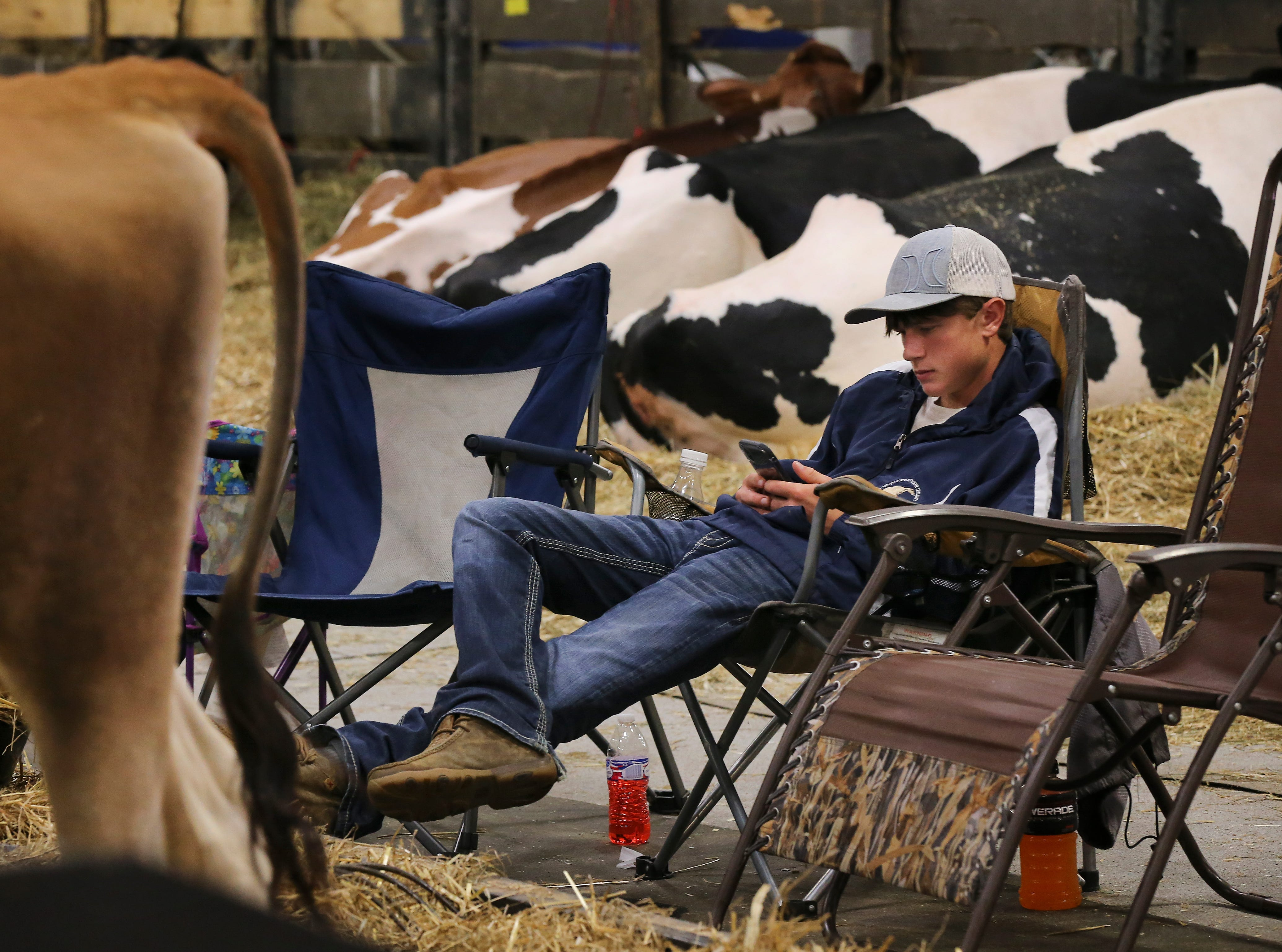 Dakota Waymeyer takes a break to check Instagram during the first day of the Kentucky State Fair.