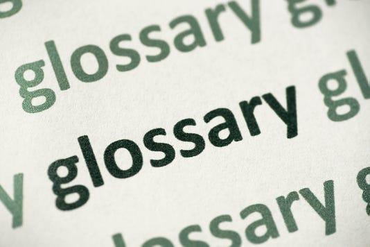 Word Glossary Printed On Paper Macro