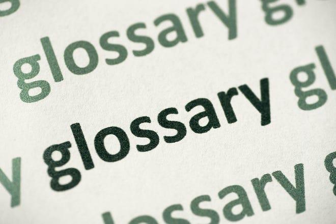 word glossary printed on white paper macro