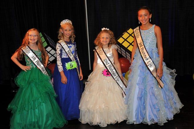 From left, are Scarlett Roston, First Runner Up;Braelyn Miller, Miss Teeny Pop;Addison Geiser, Second Runner Up; andAlivia Guadarrama, Third Runner-Up.