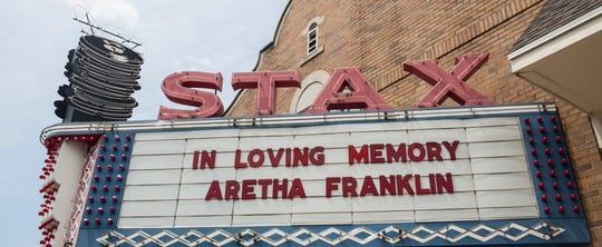 August 14, 2018 - The Stax Museum of American Soul Music put up a message for Aretha Franklin on their marquee along E McLemore Ave on Thursday. Franklin died earlier in the morning in Detroit.