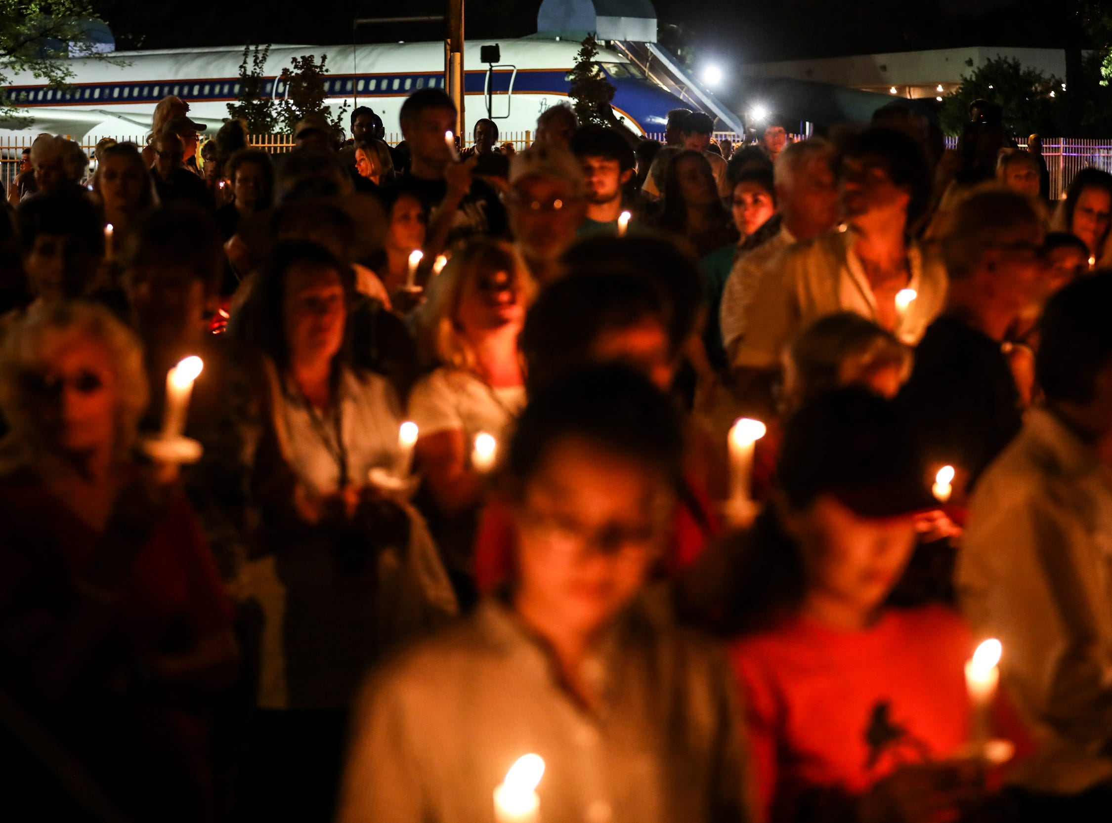 """August 14, 2018 - Elvis Presley fans attend a candlelight vigil during """"Elvis Week"""" that marks the 41st anniversary of Presley's Aug. 16 death."""