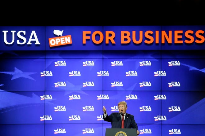 President Donald Trump speaks during the official groundbreaking June 28, 2018 for the Foxconn factory at the Foxconn Opus Building in Mount Pleasant.