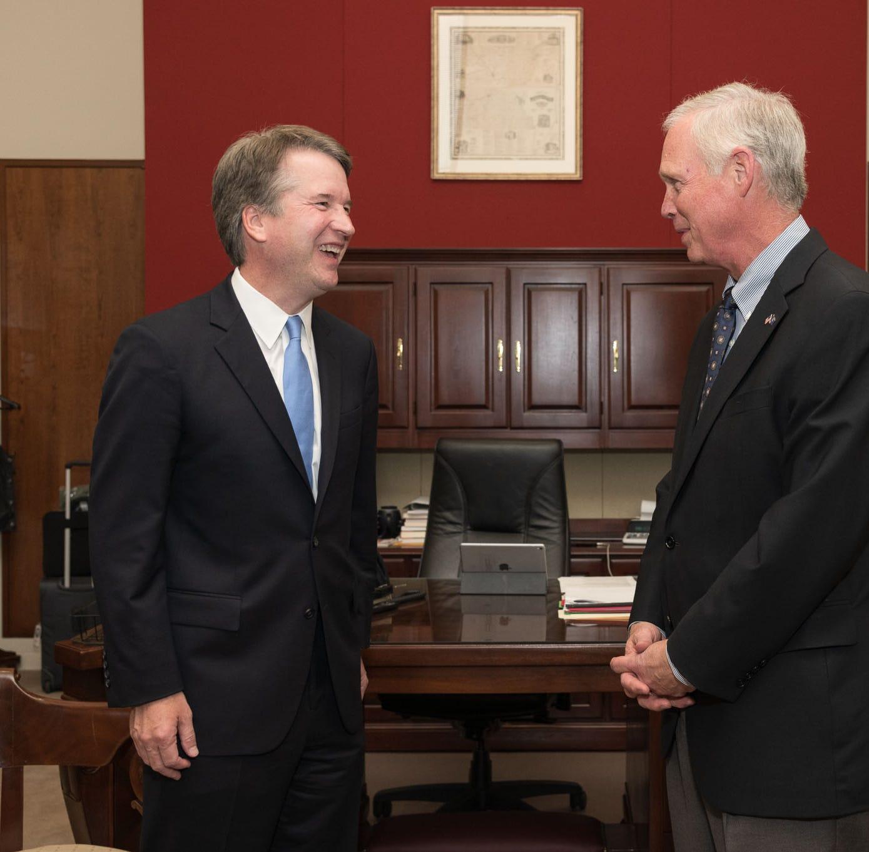 U.S. Supreme Court nominee Brett Kavanaugh (L) meets with U.S. Sen. Ron Johnson Wednesday in Washington, D.C.