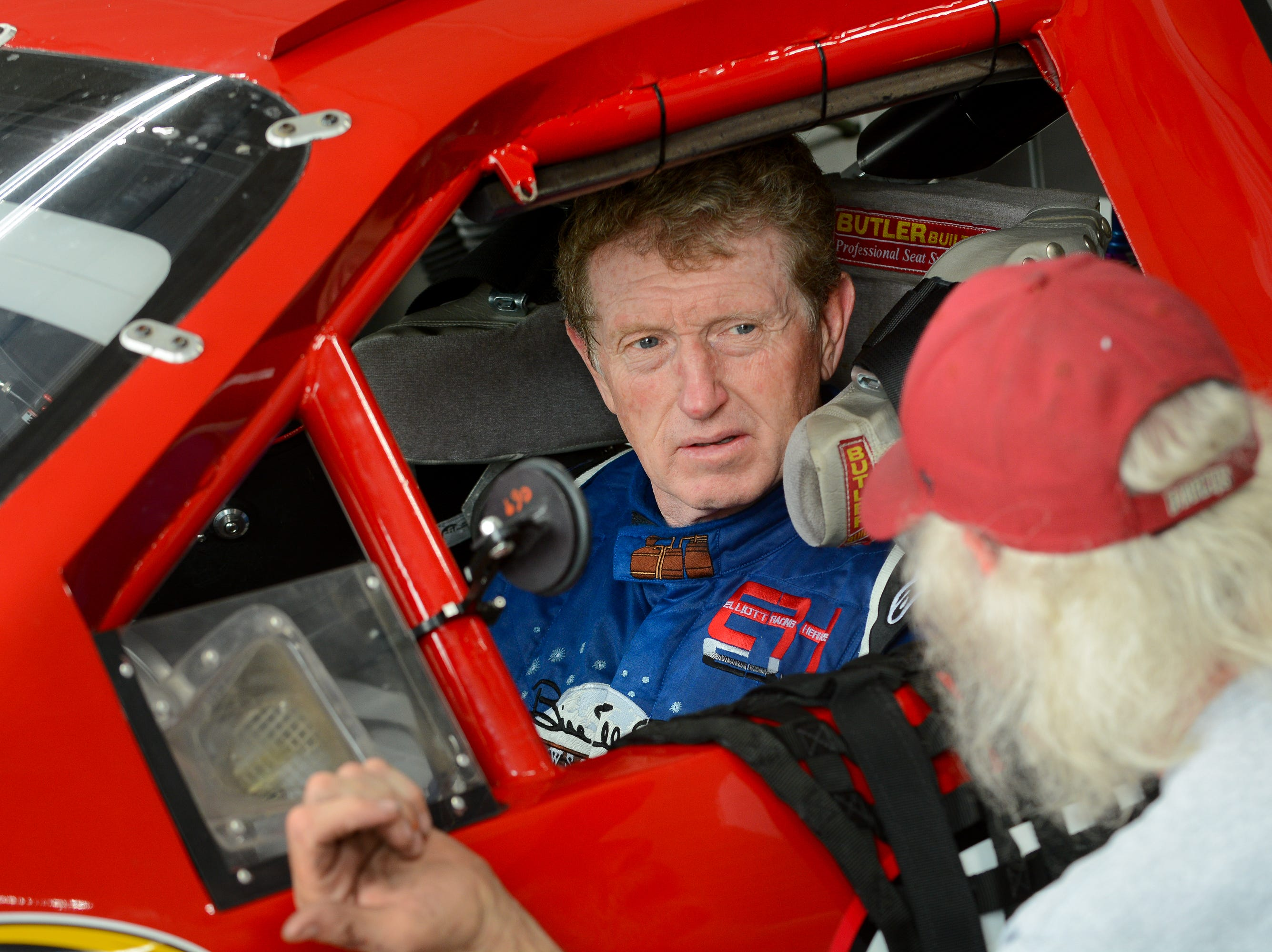 NASCAR Hall of Famer Bill Elliott prepares for a run in a vintage Dodge stock car during a test-and-tune day Thursday, August 16, 2018, at Road America.