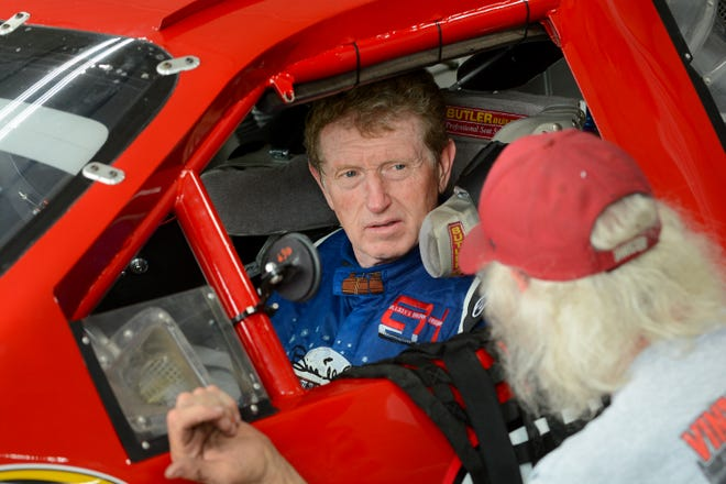 NASCAR Hall of Famer Bill Elliott prepares for a run in a vintage Dodge stock car during a test-and-tune day Thursday at Road America.
